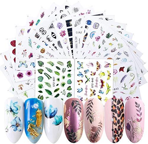 Adesivi Unghie Decalcomania Trasferimento ad Acqua 3D Nail Stickers Water Decals Nails Fai da Te Arte Unghie Autoadesivi Nail Art Colore Misto Adesivi Florealiper manicure ( 50 Fogli)