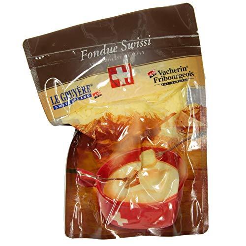 Food-United Fondue Swissi original 2x 500g aus Le Gruyère und Vacherin Fribourgeois Schweizer Käse mit AOP-Siegel cremig fein-herb würzig zart-schmelzend