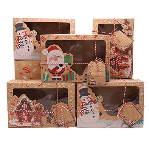 12pcs Cajas de Navidad Papel Kraft de Regalo Cajas con Transparente Ventana Etiquetas de Regalo,Caja Pequeño Carton para Tartas,Galletas,Dulces,Chocolate
