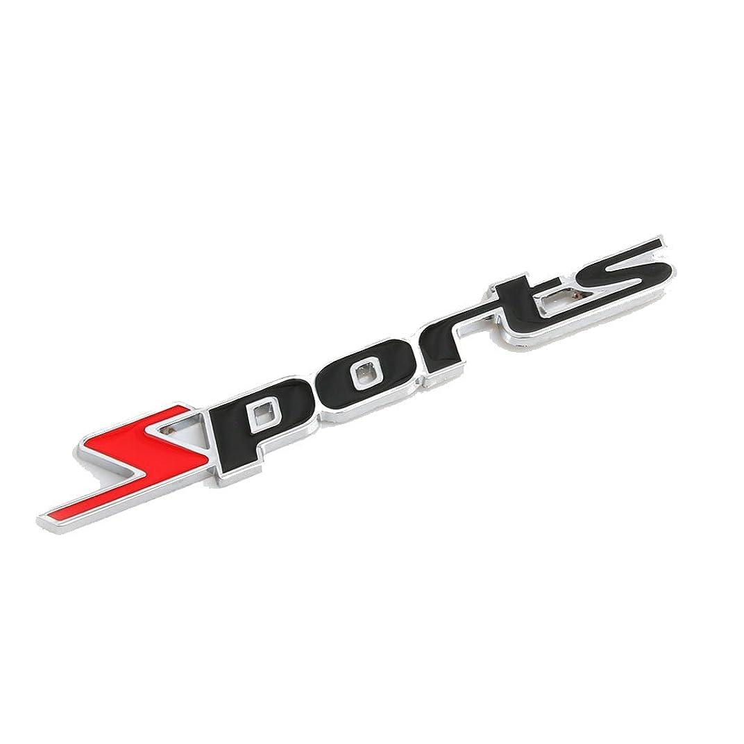 苦しめる船上配偶者CarOver 【愛車をスポーツカー風に!!】 汎用 Sports ステッカー 3D 立体 エンブレム スポーツ クール カスタム (S-レッド) CO-SPORTS-RD