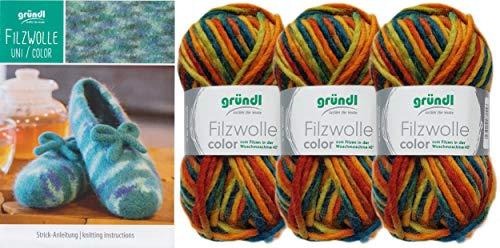 3x50 Gramm Gründl Filzwolle Color Wolle SB-Pack Wollset inkl. Anleitung für gestreifte Filzhausschuhe mit 2 Strasssteine zum aufnähen (36 Orange Grün Mix)