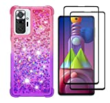 GOGME Funda para Xiaomi Redmi Note 10 Pro Funda + 2 Cristal Templado, Degradado Color Glitter Liquida Cristal Ultradelgado Suave Silicona Estuche TPU Bumper Carcasa, Rosado/Púrpura