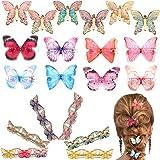 21 Pièces Pinces à Cheveux de Papillon Barrettes de Papillon Colorées 3D Pinces à Cheveux de Papillon de Saint-Valentin pour Faveurs de Fête de Femmes