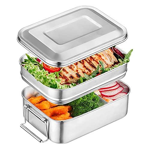 Brotdose Edelstahl mit Trennwand 2000ML, Adkwse Brotzeitdose Groß mit 2 Fächern Lunch Box Auslaufsicher Brotzeitbox Vesperdose Frühstücksbox Geeignet für Erwachsene, Kinder, Büro und Ausflug, BPA-Free
