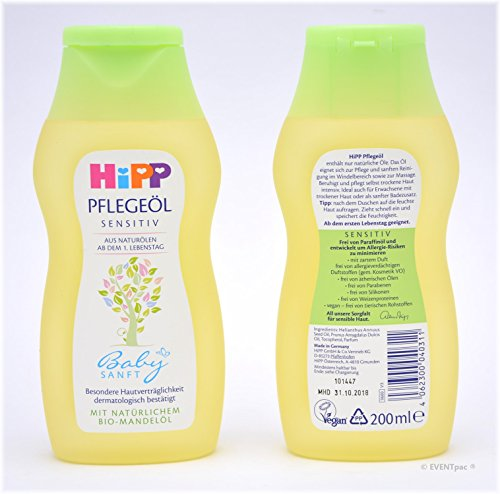Hipp Babysanft Pflegeöl, 3er Pack (3 x 200ml)