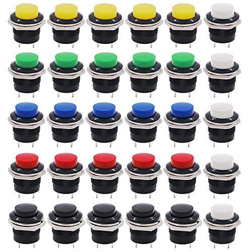 QitinDasen 30Pcs Premium 16mm Plástico Momentáneo Interruptor a Pulsador, 2 Pin SPST Plástico Interruptor de Botón de Cabeza Alta Redonda, 3A 250V AC / 6A 125V AC (6 Colores)