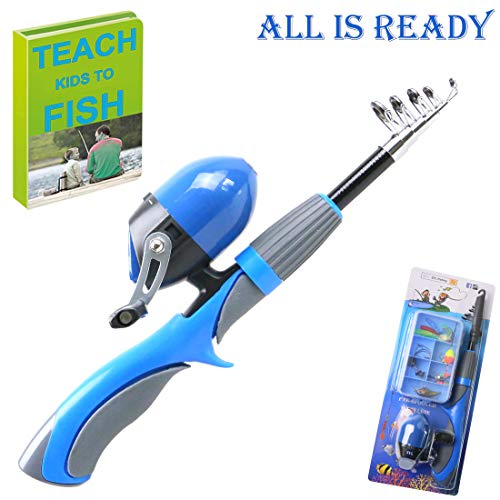 Kids Fishing Pole 55 inches Light Weight Durable Spincast Beginner Fishing Rod with Tackle Box Ready to GO (Blue)