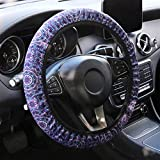 YR Universal Steering Wheel Covers, Cute Car Steering Wheel Cover for Women and Girls, Car Accessories for Women, Purple Lotus