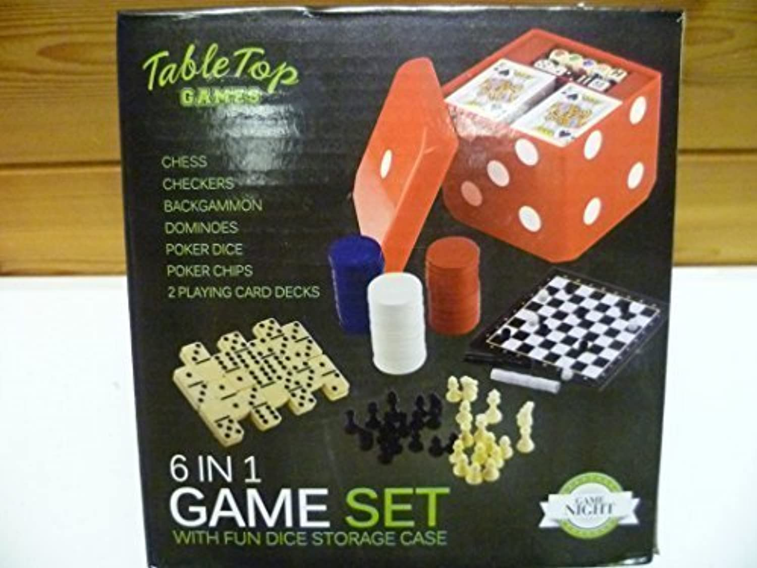 6 in 1 Game Set with Fun Dice Storage Case by Table Top Games