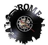 sufengshop Roma City Skyline Coliseo Decoración para el hogar Reloj de Pared Italia Capital Skyround Roma Paisaje Urbano Vinyl Record Reloj de Pared Recuerdos Regalo 30cm