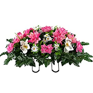 Sympathy Silks Artificial Cemetery Flowers – Realistic Vibrant Roses, Outdoor Grave Decorations – Non-Bleed Colors, and Easy Fit – 1 Pink Dahlia White Orchid Saddle for Headstone