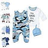 Baby Sweets 3er Baby-Set mit Strampler, Langarm-Shirt & Mütze für Jungen in Blau Grau/Baby-Erstausstattung Bio-Strampler-Set im Camouflage-Print für Neugeborene & Kleinkinder in Größe: Newborn (56)