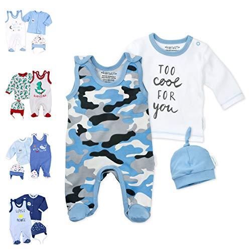 Baby Sweets 3er Baby-Set mit Strampler, Langarm-Shirt & Mütze für Jungen in Blau Grau/Erstausstattung Bio-Strampler-Set im Camouflage-Print für Neugeborene & Kleinkinder in Größe: 3-6 Monate (68)