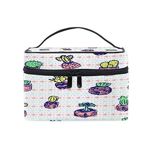 Pixiuxiu - Bolsa de maquillaje, diseño de cactus y flores, a rayas, con asa de viaje, con compartimentos para adolescentes y mujeres