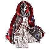 STORY OF SHANGHAI Bufandas de 100% Seda Flores Pañuelo de Morera Grande Mujer Chal Wraps Estolas Madre y Regalos Alta 170cm*55cm,Rojo Blanco Gris