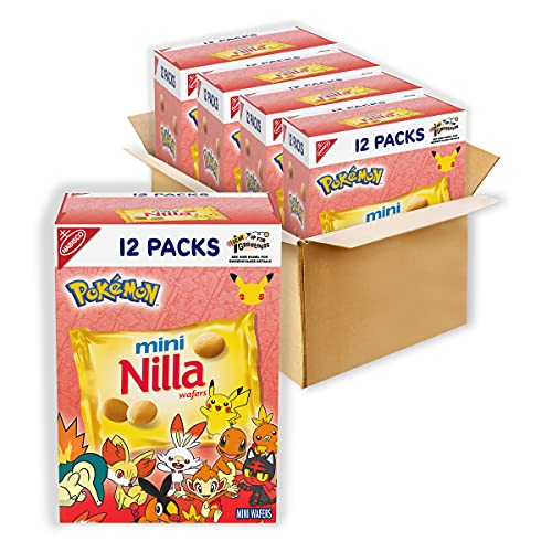 Nilla Wafers Mini Cookies 4 Boxes of 12 Snack Packs Total, Vanilla, 48 Oz