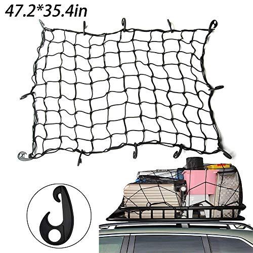 INHEMI Rete Bagagliaio Auto,Rete da Carico Rete portabagagli per Bagagliaio di Auto Tetto Portabagagli di Rete Elastica con 12 Ganci(47.2 x 35.4in)