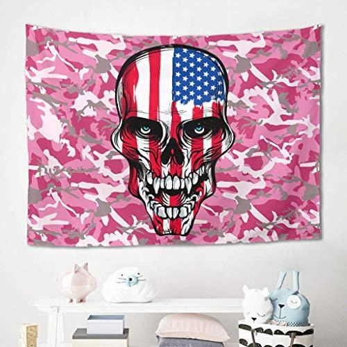 Wandbehang mit amerikanischer Flagge, Totenkopf, rosa Camouflage, Picknickdecke, Stranddecke, Yoga-Matte aus Polyesterfaser, Stranddecke, Freizeitdecke, Tagesdecke, Polyester, weiß, 200 x 150 cm