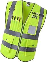 Colete de segurança respirável com zíper frontal de 4 bolsos de alta visibilidade com tiras refletivas, colete uniforme - ...