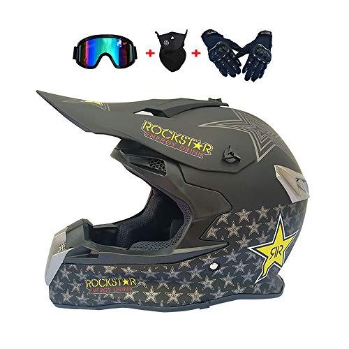 XIAMI Adult Off Road Helm Set, mit Handschuhe Maske Brille, Unisex Motorradhelm Cross Downhill Schutzhelm ATV Helm für Männer Damen Sicherheit Schutz, Farbe ist schwarz, DOT Zertifizierung,XL