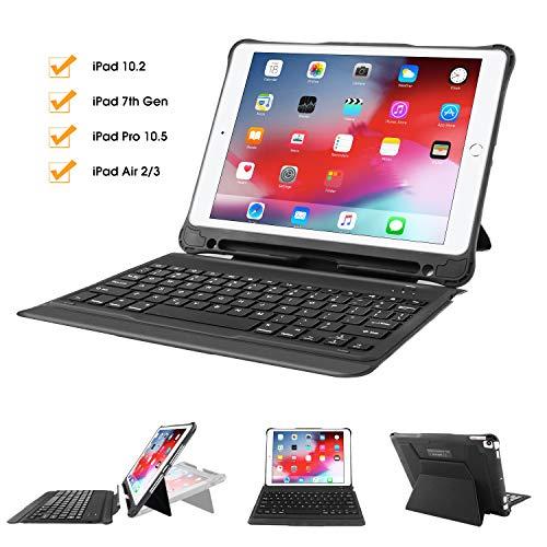 iPad 7th Generation Keyboard Case with Pencil Holder, Wireless Smart Detachable Keyboard for iPad 10.2, iPad Air 2/3, iPad Pro 10.5