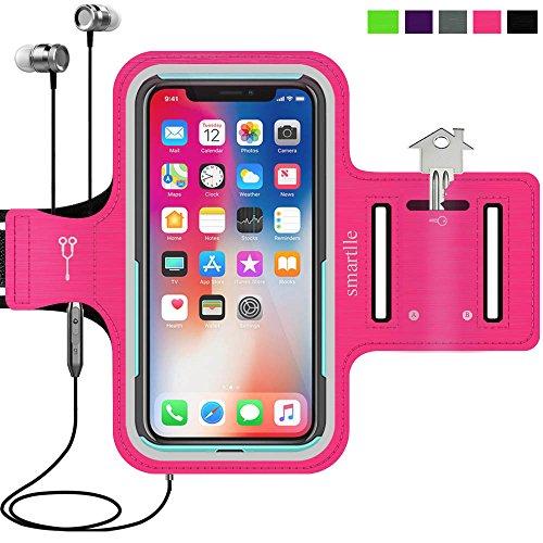 smartlle Sportarmband für iPhone X XR XS, Samsung Galaxy S9 S8 S7 S6 Edge, LG G6 V30, Google Pixel 2 3, Huawei Mate 10 P20, Running, Workout & Joggen Laufen Armband - Handyhalter Case(Pink)