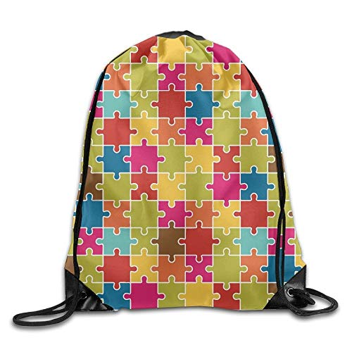 Jigsaw Puzzle Pieces Icon Pattern Colorful Unisex Home Gym Sack Bag Sport Drawstring Rucksack Bag