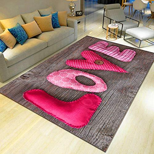 whmyz Alfombra Impresa en 3D, Sala de Estar, sofá, Mesa de Centro, cojín, Dormitorio, habitación Completa, cabecera, Alfombra de Entrada-Amor Violeta_Los 60 * 90cm