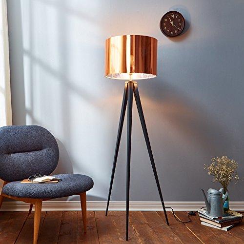 Versanora - Romanza Stehlampe / Leselampe, 153 cm, für Wohnzimmer, Schlafzimmer, Fußschalter, Kupfer-Trommelschirm, mattschwarzer Ständer