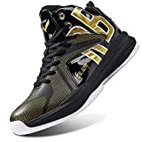 WETIKE Boys' Basketball Shoes Equality Signature Comfortable Youth Boys High Top Shoes Breathable Girls Shoes Durable Girls Tennis Shoes Non-Slip Sneakers Youth Basketball Shoes Size 9 Gold