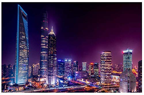City Building Purple 1000 Piezas Rompecabezas Imagen Arte Ensamblaje De Madera Juego Personalizado