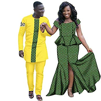 Y-CAN African Clothing for Couple Dashiki Print Outfits Men Shirt Pant Set Women Dress for Dinner Evening Wedding 615-15 Men XL