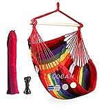 GOCAN Chaise hamac Grande balançoire hamac, Charge 110 X 150cm 150 kg, Chaise Suspendue en Coton Barre d'écartement en Bois Dur Chaise Large pivotante(Arc-en-Ciel)