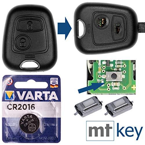 Repair Reparatur Satz Auto Schlüssel Austausch Gehäuse mit 2 Tasten + Drucktasten + Batterie kompatibel mit Peugeot 107 207 307 406 308 Citroen C4 C1 C2 C3