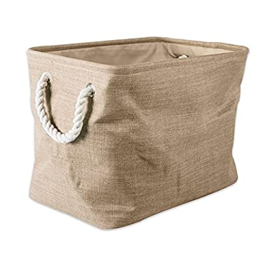 "DII Collapsible Variegated Polyester Storage Basket or Bin with Durable Cotton Handles, Home Organizer Solution for Office, Bedroom, Closet, Toys, & Laundry (Small – 14x8x9""), Taupe"