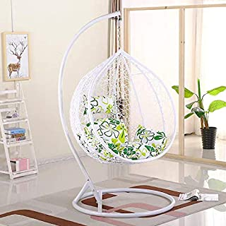 Comfortable Hanging Chair Outdoor Patio Swing Hanging (Egg Nest Shape) White (Random Cushion) YL1-286