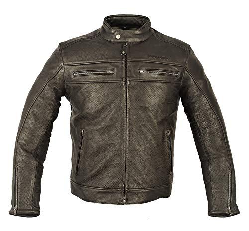 MAGOMA Chaqueta de cuero Harlem A ++ con protecciones de motocicleta,Marrón,L