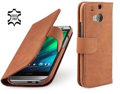 StilGut Talis Schutz-Hülle für HTC One M8 mit Kreditkarten-Fächern aus echtem Leder. Seitlich aufklappbares Flip Case in Handarbeit gefertigt für HTC One M8, Cognac Vintage