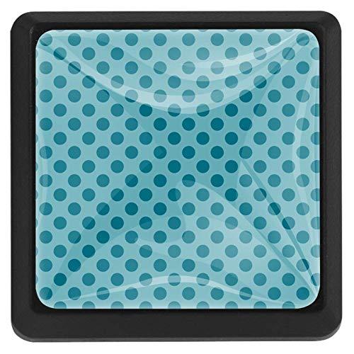 EZIOLY Türkise geometrische Kreise mit Punkten, quadratisch, Küchenschränke, Schränke, Kommoden, Schubladengriffe, 3 Stück