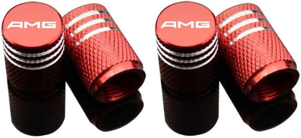 4 Stück Autoreifen Ventilkappen Aluminiumlegierung Carbon Titan Staubdicht Verhindern Korrosion Luftdicht Schützen Ihren Ventilschaft Rot Amg Logo Sport Freizeit
