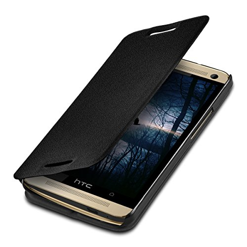kwmobile Hülle kompatibel mit HTC One M7 - Flip Handy Schutzhülle - Cover Case Handyhülle in Schwarz