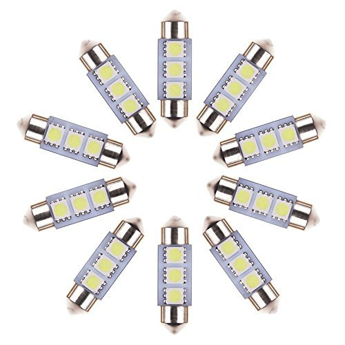 Neuftech 10 X Bombilla Lámpara 12V 36mm 3 LED 5050 SMD del Festoon Luz Interior del Coche,Blanco