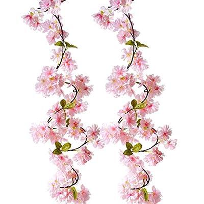 BEFINR Artificial Cherry Blossom Vine Pink Peta...