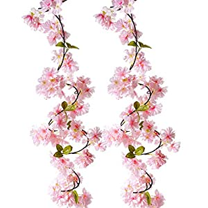 BEFINR Artificial Cherry Blossom Vine Pink Petal Flower Forever Plant Garland for Art Home Decoration Wedding Party Garden Office 2 Pack