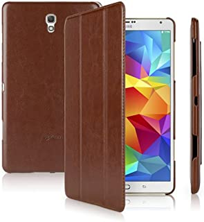 Galaxy Tab S 8.4 Case, BoxWave [FolioView Leather Case] Leather Smart Folio Cover w/ Stand for Samsung Galaxy Tab S 8.4 - Classic Brown