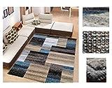 Alfombra de Salón Frise Pelo Largo Tupido Rectangulos Geometricos Modernos Color (Turquesa, 160_x_210 CM)