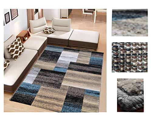 Alfombra de Salón Frise Pelo Largo Tupido Rectangulos Geometricos Modernos Color (Turquesa, 133_x_190 CM)