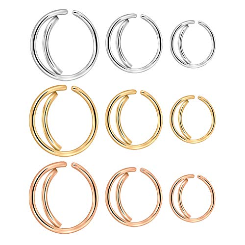 PEAKLINK 18G 20G 316L Surgical Steel Moon Nose Hoop Body Jewelry Piercing