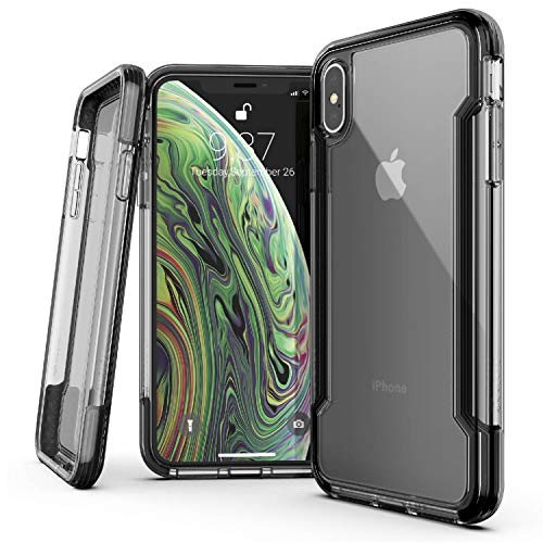 X-Doria Defense Clear, Compatible with iPhone Xs Max - Military Grade Drop Protection, Shock Protection, Clear Protective Case for iPhone Xs Max, 6.5 Inch Screen Black