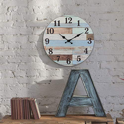 Stonebriar Vintage Coastal Worn Blue 14 Inch Round Battery Operated Wall Clock